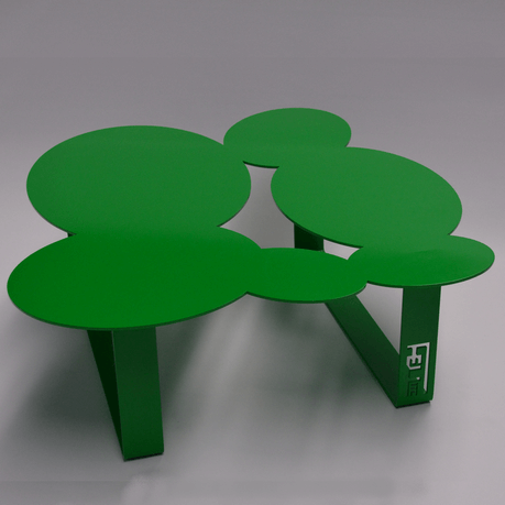 Coffee table cloudy sky green