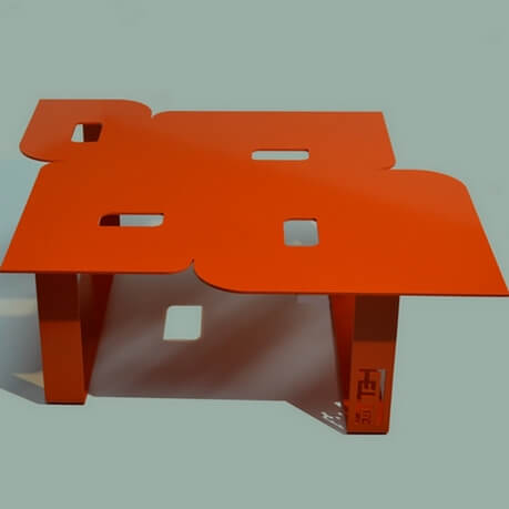 salontafel 70 's stijl orange
