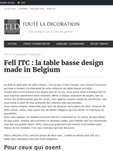 article tld toute la décoration, tables basses design Fell ITC