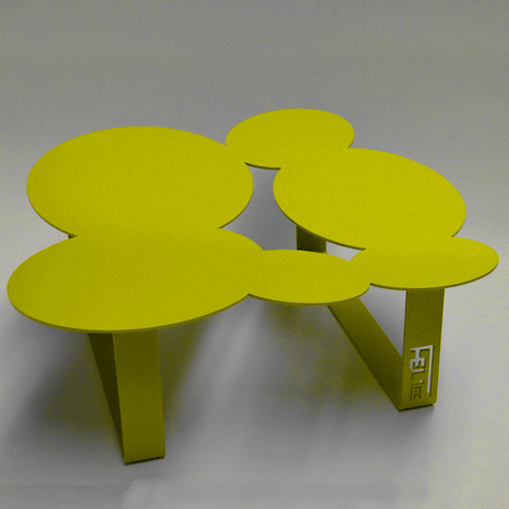 Table basse design cloudy jaune