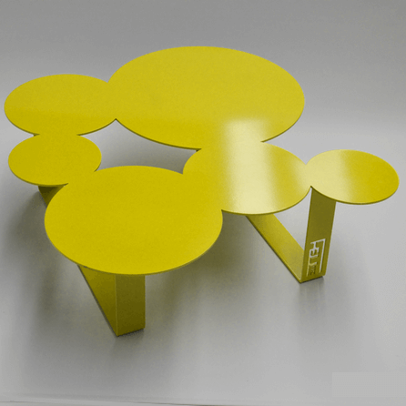 Design coffee table Inside yellow