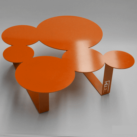 Design coffee table Inside orange