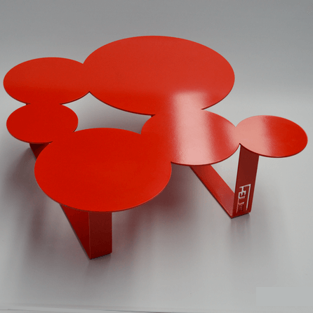 Design coffee table Inside red